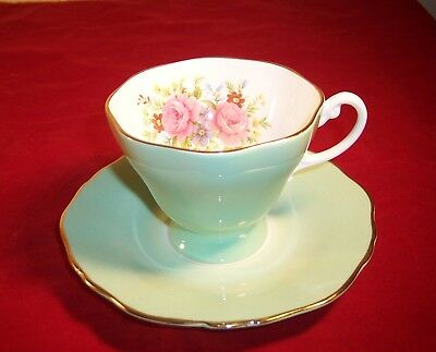 Crown Staffordshire Bone China Cup and Saucer in Seafoam Green with Roses