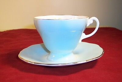 Crown Staffordshire Bone China Cup and Saucer in Baby Blue with Roses