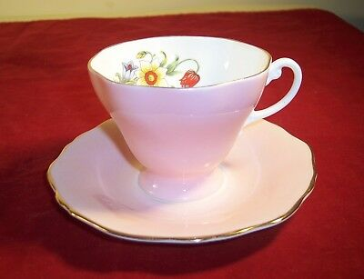 Crown Staffordshire Bone China Cup and Saucer in Pink Glaze and Flowers