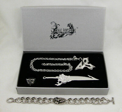 Final Fantasy X 5pc Set Necklace Ring Earrings Keychain FF10 Cosplay Cloud XV