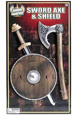 Brand New Viking Shield Sword and Axe Child Set Costume Accessory