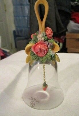 AVON Floral Bouquet Crystal Bell Over 24% Full lead Crystal  Flower Clapper 1989