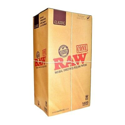 2x RAW Pre-rolled CONES 1400 ct Natural Organic Rolling Papers w Tips King size