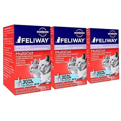 New Comfort Zone Feliway MULTICAT Diffuser Refill (Economy 3 Pack) - Ships Free