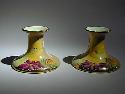 Art Deco Grays Susie Cooper style pair of candle sticks gilded A4668
