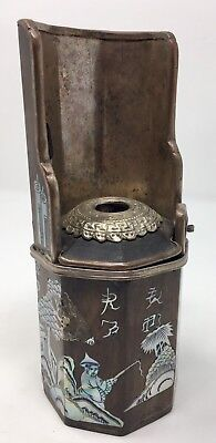 Antique Vintage Asian Oriental Mother of Pearl Wood Tower Incense Burner 7.25''