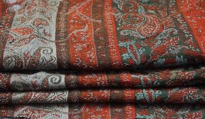"Antique c1870 Wool Cutter Paisley Shawl~Christmas~40""L X 76""W"