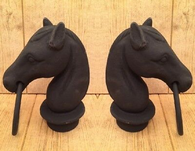 """Horse Head For Hitching Cast Iron 8 1/2""""tall (Set of Two) Home Decor 0170S-11617"""