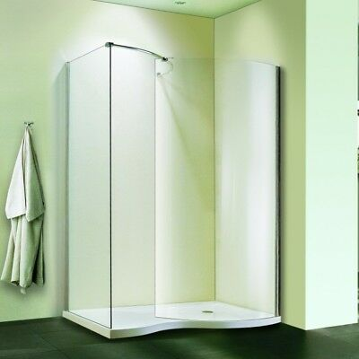 1400x900mm Frameless Walk In Shower Enclosure Curved Glass Screen Stone Tray V8