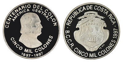 Costa Rica 5,000 Colones 25g Silver Coin, 1997,KM # 235,Mint,Centennial of Colon