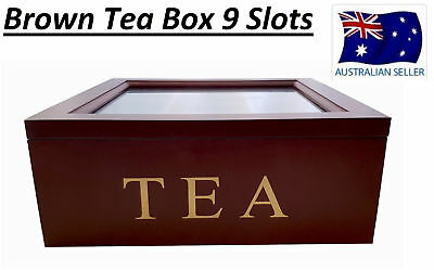Walnut Brown Wooden Tea Box Container Glass Lid 9 Divisions Holds 90 Bags Hw325