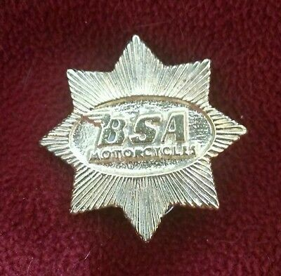 24k Gold Plated BSA motorcycle Pewter Jacket, Hat or Lapel pin GREAT GIFT IDEA
