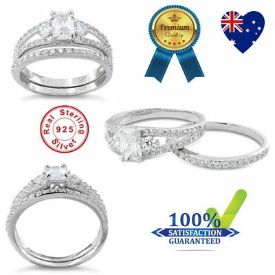 925 Sterling Silver Crystal Cubic Zirconia Engagement Ring 2 Set Wedding Ring