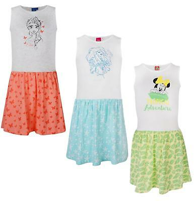 Girls Dress Disney Characters Sleeveless Summer Dresses Ex Store 3-12Y New