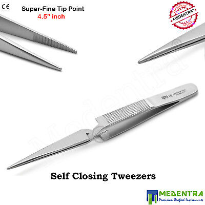 """4.5"""" Self Closing Surgical Tweezers Fine Tip Point Forceps Laboratory-MEDENTRA®"""
