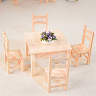 1:12 Dollhouse Miniature Kitchen Furniture 5Pcs Set 1 Wooden Table + 4 Chairs ♫