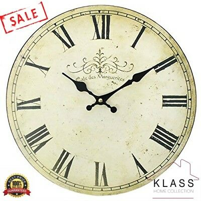 New Vintage Style Cafe Des Marguerites Shabby Chic Antique Cream Wall Clock 34Cm