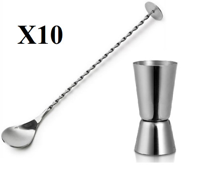 Pack Of 10 Stainless Steel Stirrer And Double Single Shot Measure Jigger Spoon M
