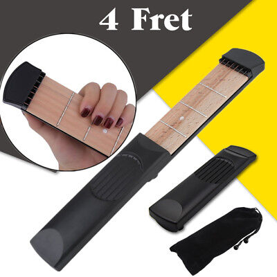 Portable Pocket Guitar 4 Fret Wooden Acoustic Chord Trainer  Practice Tool WX