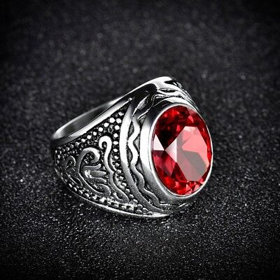 Mens Heavy Solid Silver Stainless Steel Red Garnet Crystal Fashion Rings Band