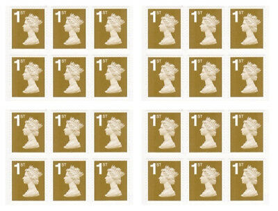 100 x 1st Class Unfranked Stamps, Gum Paper - ALL GOLD -