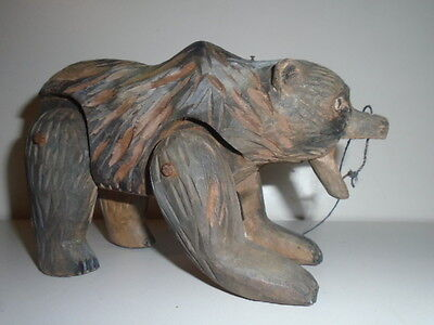 Antique Black Forest Swiss  Articulated Tramp Folk Art Carved Wood Toy Bear