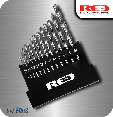 Red Pro Metal HSS-G Drill Bit Set - 13 Pieces In Storage Case 1.5mm - 6.5mm