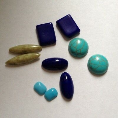 Job Lot 10 Mixed Glass Cabochons - Turquoise Blue and Light Mottled Green