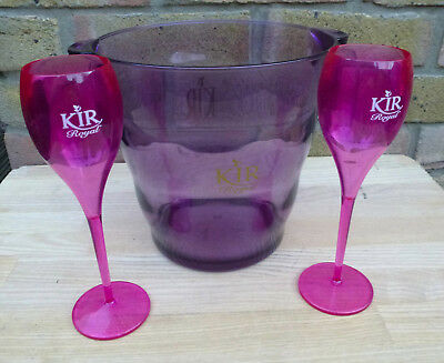 Ice Bucket - Champagne Cooler - Champagne Bucket & 2 Flutes - Kir Royal