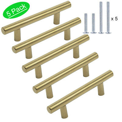 Gold Cabinet Pull Knobs Polished Brass Kitchen Hardware Drawer Handles 5 PACK