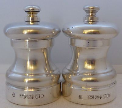 Solid Hallmarked Silver Cruet Set  Salt and Pepper Grinders Mills M C Hersey