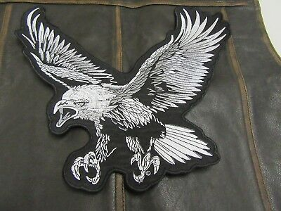 "Patch écusson"" Grand Aigle gris et noir"" biker,harley, moto,rockabilly, country"