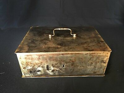 """19th Century French """"Linen Closet"""" Steel Strong Box with key"""