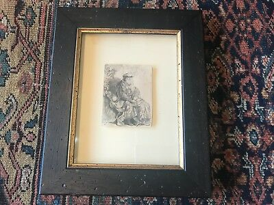 Etching Pulled From The Orginal Plate Of Rembrandt Van Rijn Black Frame
