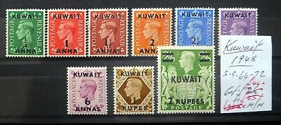 KUWAIT 1948 G.VI SG64 to 72 Cat £44 Mounted Mint NF384