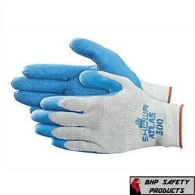 Showa Atlas 300 Fit Palm Coating Natural Rubber Glove, Blue, (Pack Of 12)