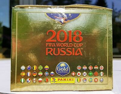 Panini 2018 World Cup GOLD EDITION Box with 100 Packets = 500 Stickers