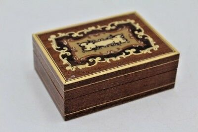 "Vintage Swiss Inlaid Wood Box Torna a Sorrento ~ 4"" Long"