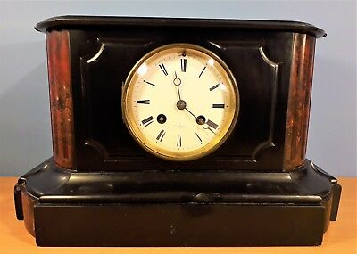 Antique French Hry Marc Paris Marble  Slate Mantle Clock Japy Freres 1835 Medal