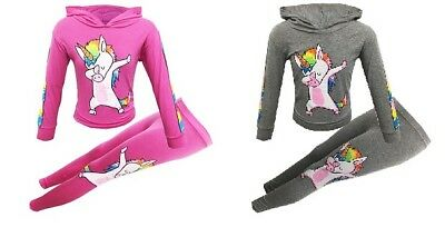 New Girls Kids Unicorn Dabbing Summer Outfit Top & Leggings Pink Grey Age 5-13