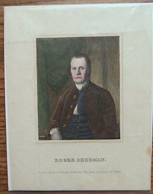 ROGER SHERMAN 19th C ENGRAVING - AMERICAN STATESMAN & FOUNDING FATHER