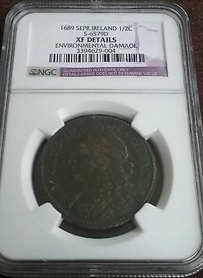 IRELAND September 1689 1/2 Half Crown Slabbed Certified Graded NGC XF Devices