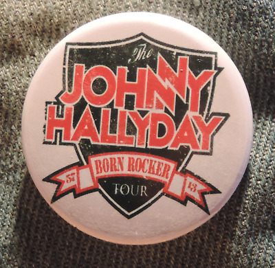 Pin Button Badge Ø38mm JOHNNY HALLYDAY born rocker