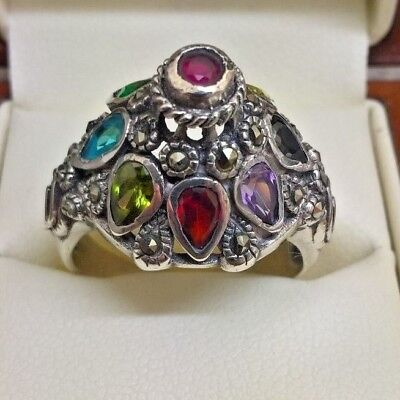Stunning Vintage & Rare 9 Gems 925 Chinese  Silver Ring With Real Stones
