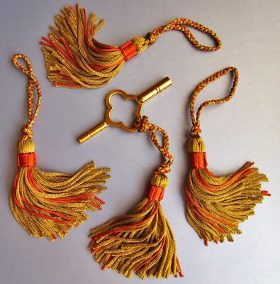 Set of FOUR Hand-made KEY TASSELS ideal for CLOCK KEYS, Furniture Handles/ Locks