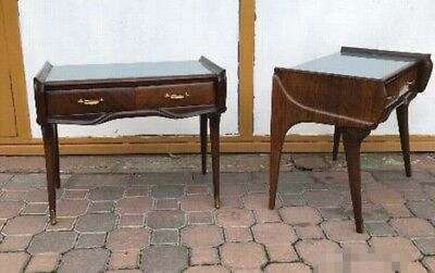 Pair Rare Side End Table Mid-Century Mahogany Nightstands italy Ico Parisi 1950s