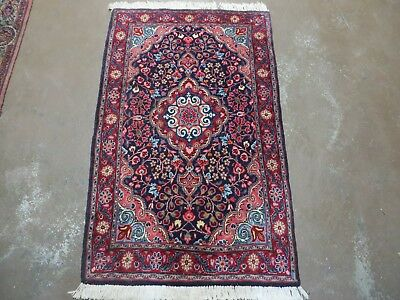 2' X 4' Antique Hand Made Persian Sarouk Malayer Wool Rug Carpet Authentic Blue