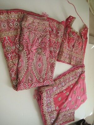 Chaniya Choli Pink Silver Stones Silver/ Gold Embroidery S/M Beautiful 3 Pcs