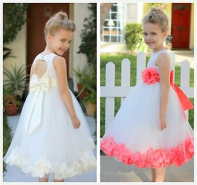 Rose Petals Lace Heart Cutout Ivory Flower Girl Dress Special Occasion Dresses