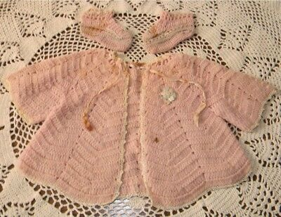 Vintage Baby Layette Set Crochet Sweater Jacket & Booties Use for larger Doll